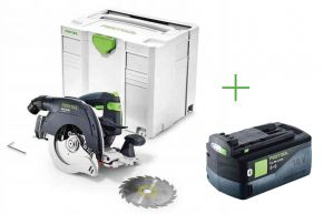 Akumulatorowa ręczna pilarka tarczowa HKC 55 Li EB-Basic + Akumulator BP 18 Li 5,2 ASI (201358+202479) Festool