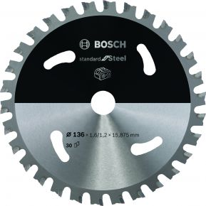 Ostrze do piły tarczowej bezprzewodowej Standard for Steel 136 x 1,6 / 1,2 x 15,875 T30 Bosch