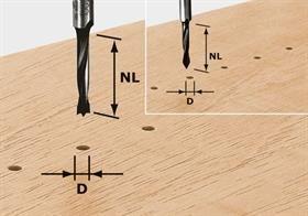 Frez do kołków, HW z trzpieniem 8 mm HW S8 D8/30 Z Festool
