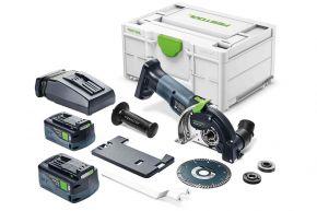Akumulatorowy system cięcia z osprzętem diamentowym DSC-AGC 18-125 FH 5,2 EBI-Plus Festool