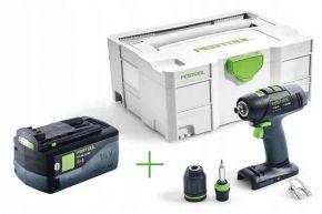 Akumulatorowa wiertarko-wkrętarka T 18+3 Li-Basic + Akumulator BP 18 Li 5,2 ASI (574763+202479) Festool