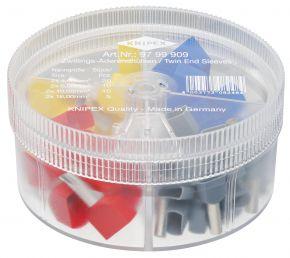 Zestawy w pudełku z izolowanymi tulejkami kablowymi typu Twin (20x[2x4mm²]+10x[2x6mm²]+10x[2x10mm²]+5x[2x16mm²]) Knipex