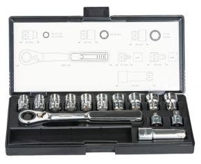 Zestaw nasadek przelotowych+klucz z adapterem 1/4,3/8 - 14 sztuk B-65595