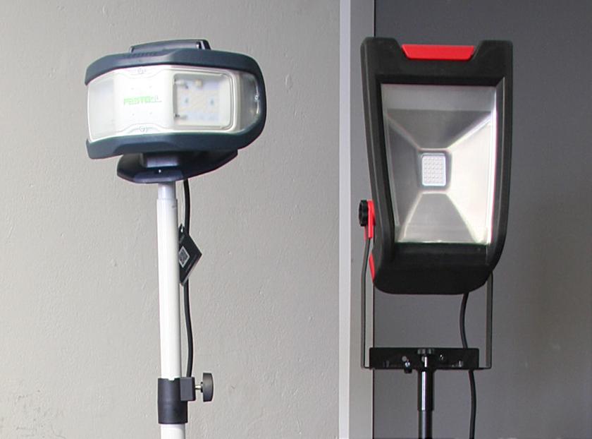 Porównanie lamp ledowych Festool DUO i Elwis TL1